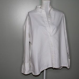 everlane women white cotton square shirt SZ 12